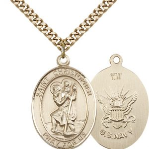 St Christopher Navy Pendant Gold Filled 90153