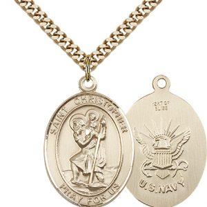 St Christopher Navy Pendant Gold Filled 90153