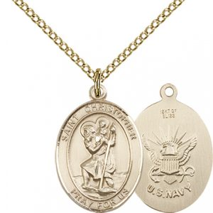 St Christopher Navy Pendant Gold Filled 90261