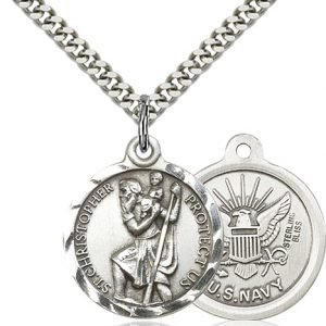St Christopher Navy Pendant Sterling Silver 89690