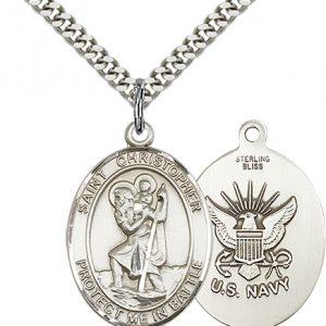 St Christopher Navy Pendant Sterling Silver 89925