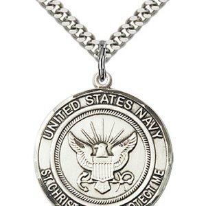 St Christopher Navy Pendant Sterling Silver 89961