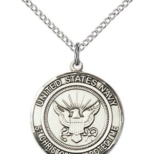 St Christopher Navy Pendant Sterling Silver 89979