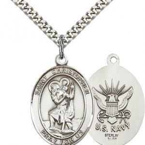 St Christopher Navy Pendant Sterling Silver 90167