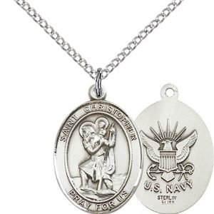 St Christopher Navy Pendant Sterling Silver 90275