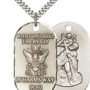 St Christopher Navy Pendant Sterling Silver 90498