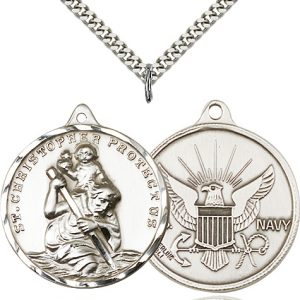 St Christopher Navy Pendant Xl Sterling Silver 89745