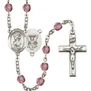 St Christopher Navy Rosary Amethyst Beads R15625