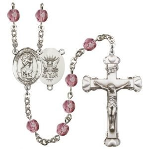 St Christopher-Navy Rosary - Amethyst Beads (#R15637)
