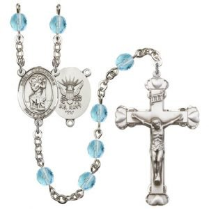 St Christopher-Navy Rosary - Aqua Beads (#R15638)