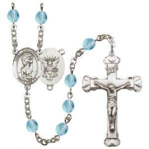 St Christopher-Navy Rosary - Aqua Beads (#R15638)