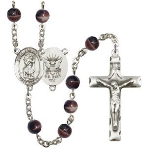 St Christopher Navy Rosary Brown Beads R15651