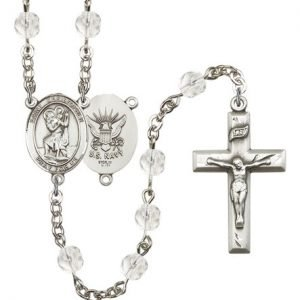 St Christopher Navy Rosary Crystal Beads R15627