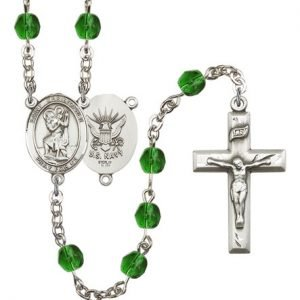 St Christopher Navy Rosary Emerald Beads R15628