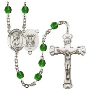 St Christopher Navy Rosary Emerald Beads R15640