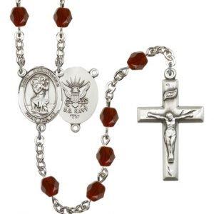 St Christopher Navy Rosary Garnet Beads R15629
