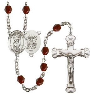 St Christopher Navy Rosary Garnet Beads R15641