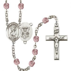 St Christopher Navy Rosary Light Amethyst Beads R15630