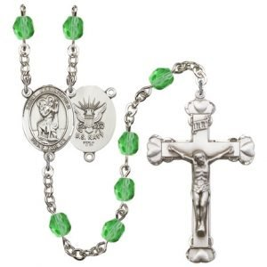 St Christopher Navy Rosary Peridot Beads R15643