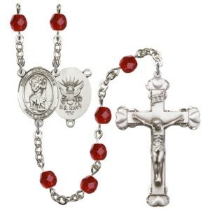 St Christopher Navy Rosary Ruby Beads R15645