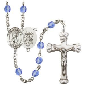 St Christopher Navy Rosary Saphire Beads R15646