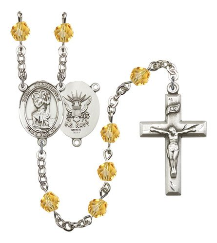 St Christopher-Navy Rosary - Topaz Beads (#R15635)