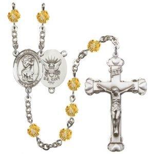 St Christopher Navy Rosary Topaz Beads R15647