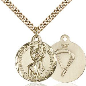 St Christopher Paratrooper Pendant Gold Filled 89677