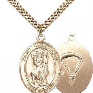 St Christopher Paratrooper Pendant Gold Filled 90154
