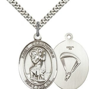 St Christopher Paratrooper Pendant Sterling Silver 90168