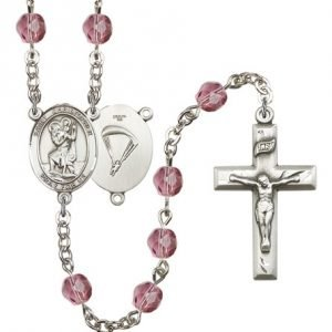 St Christopher-Paratrooper Rosary - Amethyst Beads (#R15656)