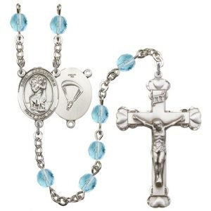 St Christopher Paratrooper Rosary Aqua Beads R15669