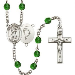 St Christopher-Paratrooper Rosary - Emerald Beads (#R15659)