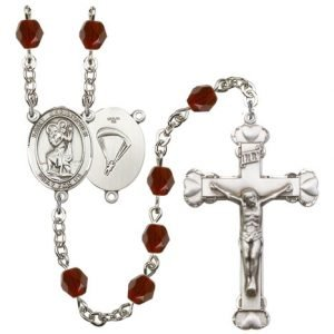 St Christopher-Paratrooper Rosary - Garnet Beads (#R15672)