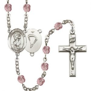 St Christopher-Paratrooper Rosary - Light Amethyst Beads (#R15661)