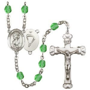 St Christopher Paratrooper Rosary Peridot Beads R15674