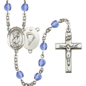 St Christopher-Paratrooper Rosary - Saphire Beads (#R15665)