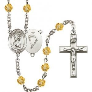 St Christopher Paratrooper Rosary Topaz Beads R15666