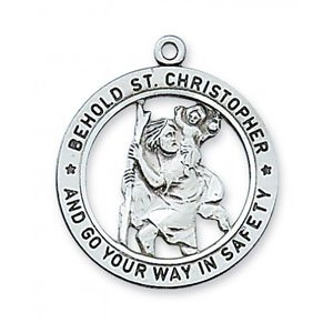 St Christopher Patron Saint Medal With Open Back In Sterling Silver 19290