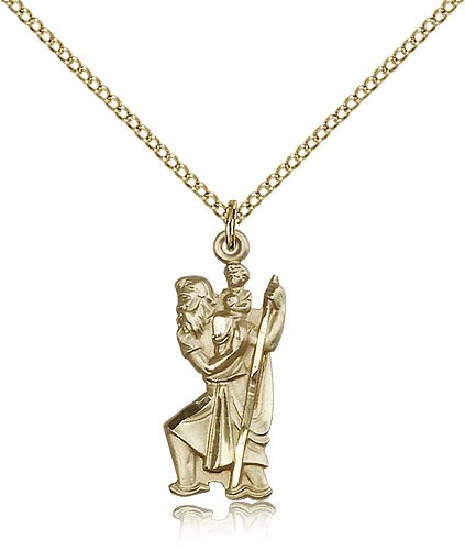St Christopher Pendant - 14 Karat Gold Filled - Long, (#81880)