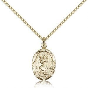 St Christopher Pendant 14 Karat Gold Filled Long 83036