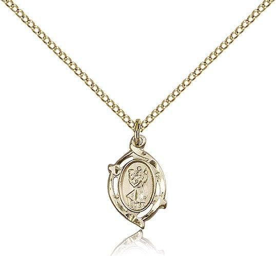 St Christopher Pendant 14 Karat Gold Filled Long 85504