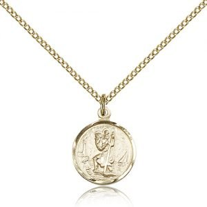 St Christopher Pendant - 14 Karat Gold Filled - Small, (#83009)