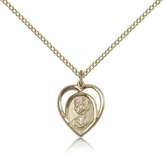 St Christopher Pendant - 14 Karat Gold Filled - Small, (#83208)