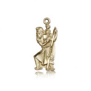 St Christopher Pendant - 14 KT Gold - Long, (#81881)