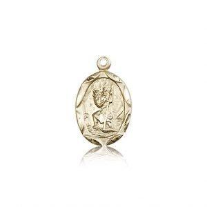 St Christopher Pendant 14 Kt Gold Long 83037