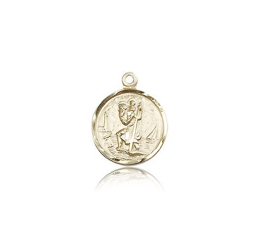St Christopher Pendant 14 Kt Gold Small 83010