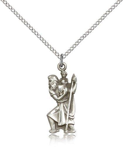 St Christopher Pendant Sterling Silver Long 81882