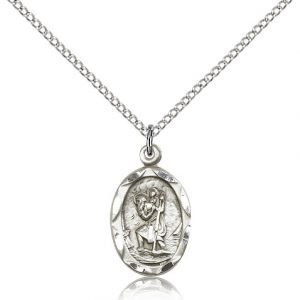 St Christopher Pendant Sterling Silver Long 83038