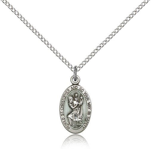 St Christopher Pendant Sterling Silver Long 84434